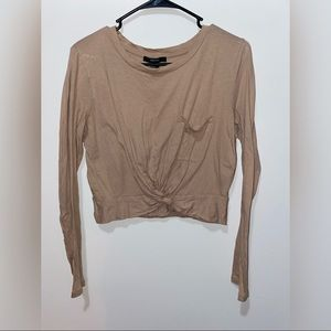Forever 21 tan long sleeve cropped twist shirt